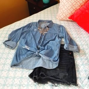 Distressed Chambray Button Down